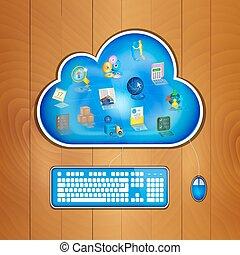 nuvola, concetto, soluzione, affari, calcolare