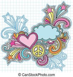 nuvola, cuore, quaderno, doodles
