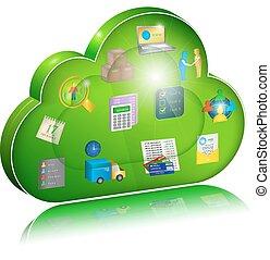 nuvola, digitale, impresa, icona, amministrazione, application., concetto