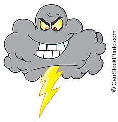 nuvola, fulmine, tempesta