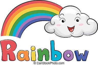 nuvola, mascotte, illustrazione, arcobaleno