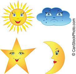 nuvola, sole, comico, luna, stella