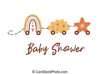 nuvola, star., invito, doccia, boho, carino, scheda, sagoma, arcobaleno, vettore, treno, bambino