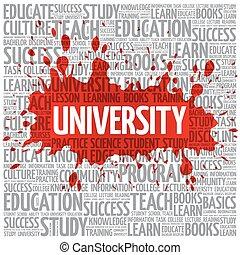 nuvola, università, concetto, parola, educazione