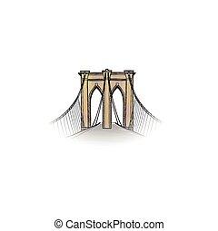 nyc, city., pietra miliara americana, icon., nuovo-york, viaggiare, ponte brooklyn