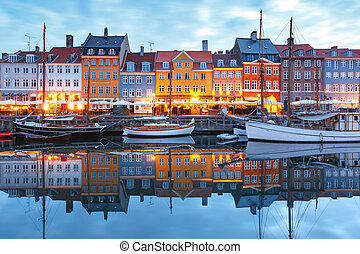 nyhavn, panorama, denmark., copenaghen