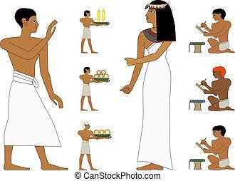 nyle, trader., persone, noblewoman, murali, set, antico, illustrazione, persone, egitto