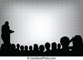 o, aggiungere, proiezione, conferenza, affari, testo, screen., folla, tuo, presentazione, persona, copia, audience., prodotto, vuoto, marketing, fronte