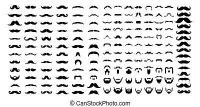 o, baffi, progetto serie, icona, semplice, vettore, sagoma, logotipo, illustrazione