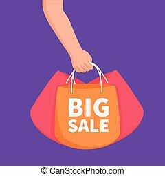 o, bandiera, borse, vendita, concetto, annuncio pubblicitario, mano grande, presa a terra, elemento, sagoma, shopping