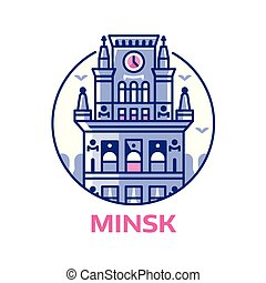 o, cancelli, città, minsk, emblema, icona