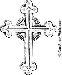 o, cattolico, ortodosso, schizzo, croce