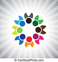 o, colorito, concetti, comunità, gioco, felice, anche, amicizia, impiegato, vettore, bambini, &, unioni, lattina, condivisione, icons(symbols)., bambini, illustrazione, graphic-, come, rappresentare, concetto, ecc