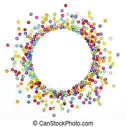 o, colorito, forma, perline, testo, spazio, fondo, isolato, cerchio, foto, bianco