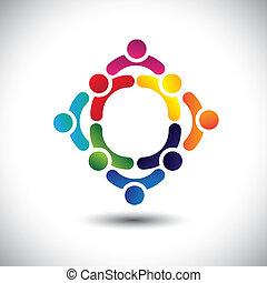 o, colorito, gioco, costruzione, anche, amicizia, vector., circles-, persone, bambini, &, lattina, multiplo, squadra, icone, questo, illustrazione, attività, insieme, gruppo, rappresentare, concetto, ecc