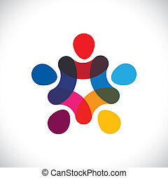 o, comunità, colorito, gioco, anche, cerchi, presa a terra, friendship-, lavorante, solidarietà, vettore, &, mani, graphic., lattina, unione, unità, bambini, questo, illustrazione, insieme, rappresentare, concetto, ecc