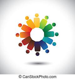 o, comunità, colorito, gioco, anche, impiegato, cerchi, friendship-, lavorante, solidarietà, vettore, &, graphic., rappresenta, unione, unità, children(kids), questo, riunioni, illustrazione, insieme, concetto, ecc