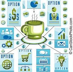 o, concetto, illustration., caffè, tazza, caldo, visuale, tee, idea, vettore, infographics, presentazione, disegno, 3d