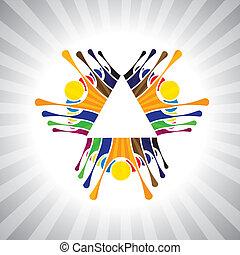 o, gioco, anche, umore, semplice, impiegato, lavorante, together-, divertimento, festivo, vettore, bambini, &, graphic., animato, lattina, eccitato, squadra, bambini, lavoro squadra, illustrazione, persone, dimostrazione, rappresentare, questo