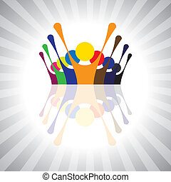 o, gioco, anche, umore, semplice, impiegato, lavorante, together-, divertimento, festivo, vettore, protesta, bambini, graphic., animato, lattina, unione, eccitato, bambini, illustrazione, persone, dimostrazione, rappresentare, questo