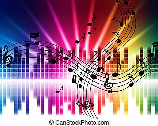 o, gioco, canto, fondo, musica, discoteca, colori, mezzi