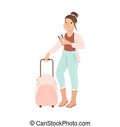 o, giovane, illustrazione, turista, vacanza, viaggio, valigia, aereo, andare, cartone animato, vettore, biglietti, ragazza, standing, viaggio, donna