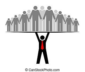 o, gruppo, everyone., persone, intero, boss., capo, community., relativo, squadra, sostegni, condottiero