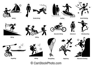 o, icons., handicappato, bastone, attività, persone, ricreativo, invalido, adattabile, figura