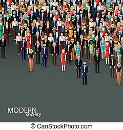 o, illustrazione affari, politica, vettore, corvo, appartamento, community.