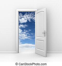 o, libertà, cielo, -, porta, cielo