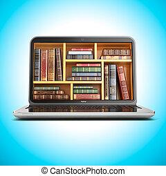 o, libro, biblioteca, internet, e-imparando, store., laptop, educazione