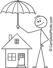 o, ombrello, famiglia, casa, agente, cartone animato, vettore, presa a terra, uomo affari, protezione, uomo, assicurazione