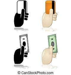 o, pagamento, credito, contanti, addebito, opzioni