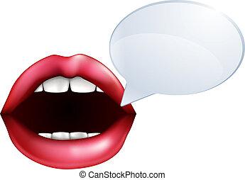 o, parlare, labbra, bocca