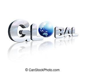 o., parola, d, iscrizione, chromed, globo globale, leggero, 3, posto, riflessivo, perspective., terra, bianco, surface., osservato