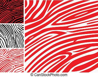 o, pelle, modello, stampa, -, zebra, collezione, rosso, animale, bianco