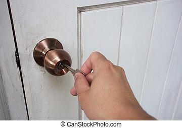 o, porta, chiavi, bloccaggio, mano, presa, sbloccando