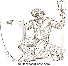 o, poseidon, isolato, romano, scudo, nettuno, tridente, dio, bianco