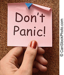 o, rilassante, non faccia, nota, no, panico, panicking, mezzi