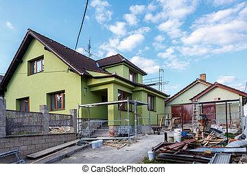 o, rurale, costruzione casa, riparazione