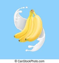 o, schizzo, yogurt., illustrazione, latte, realistico, vettore, banana