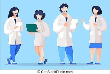 o, set, medico, ricercatori, scienziati, lavorante