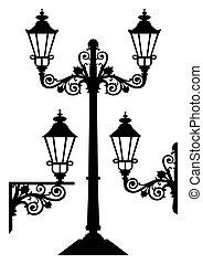 o, silhouette, set, lanterne, s