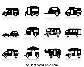 o, simbolo, campeggiatore, roulotte, furgone