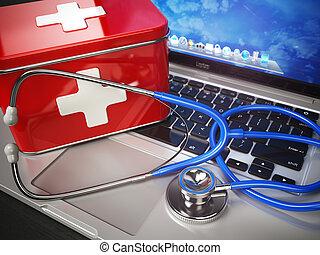o, tecnico, laptop, sostegno, kit, stetoscopio, aiuto, concept., medico, primo