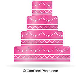 o, torta, inviti, card., matrimonio, rosa