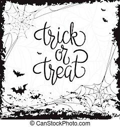 o, trucco, treat., quote., halloween, manifesto