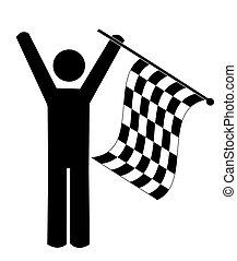 o, vincitore, figura, -, checkered, uomo, bandierina ondeggiamento, bastone