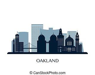 oakland, silhouette., monocromatico, orizzonte
