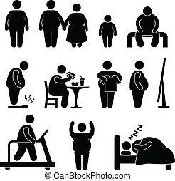 obesità, sovrappeso, uomo grasso